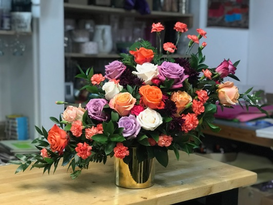 3.) Multi Color Roses with Velvet Cushion. $180.00