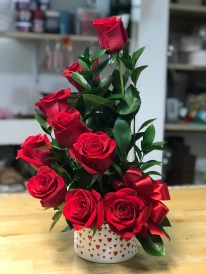 12.) Red roses, green leaves and red ribbonSpecial: $48.99