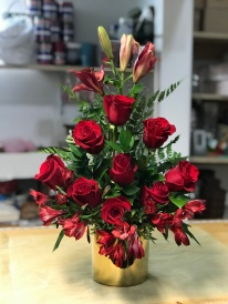 14.) Red roses,red lilies and red astromeliasSpecial: $90.00