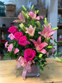 6.)Pink bright roses, lilies and mini carnationsSpecial: $75.00