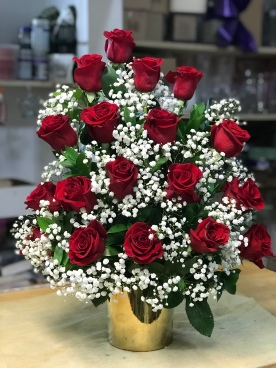 3.)Tree style, red roses with baby breath in a gold ceramic vaseSpecial: $140.00