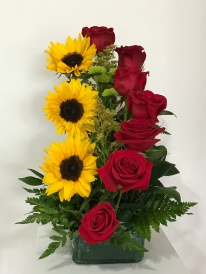 9.)Red roses and sun flowersSpecial: $75.00