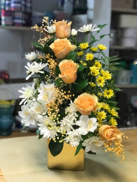 10.) Peach Roses with Cushion and Yellow Monte Casino. $60.00