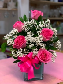 15.) Pink Roses with Baby Breath. $50.00